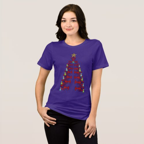 Lobster Christmas tree cute party ugly purple T-Shirt After Christmas Sales 5555