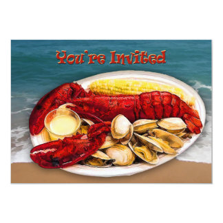 Lobster & Clams Ocean Shoreline You're Invited Card