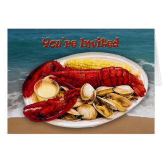 Lobster & Clams Ocean Shoreline You're Invited Greeting Cards