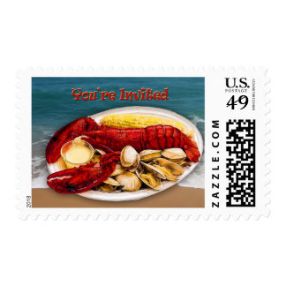 Lobster & Clams Ocean Shoreline You're Invited Postage