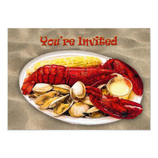 Lobster & Clams Sandy Beach You're Invited Card