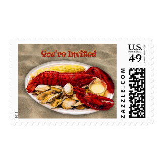 Lobster & Clams Sandy Beach You're Invited Postage