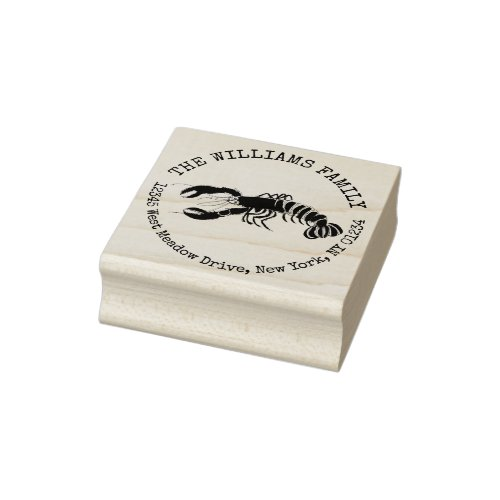 Lobster Coastal Create Your Own Return Address Rubber Stamp