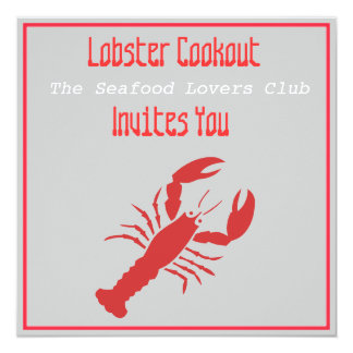 Lobster Cookout 5.25x5.25 Square Paper Invitation Card