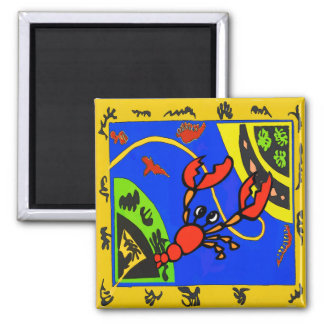 Lobster, Crayfish Abstract, Matisse Style Magnet