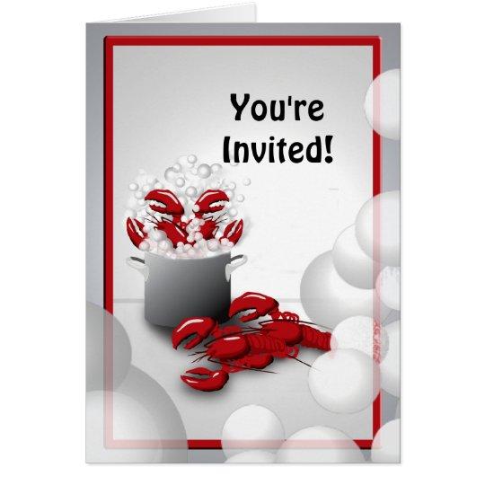 Lobster Dinner Boil  Invitation Greeting Card