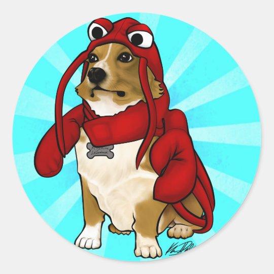 Lobster Dog Classic Round Sticker