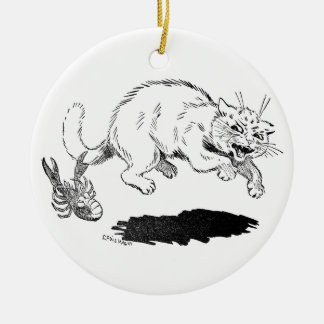 Lobster Has Cat By the Tail Ceramic Ornament