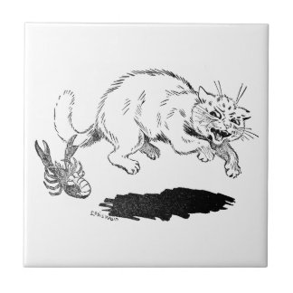 Lobster Has Cat By the Tail Ceramic Tile