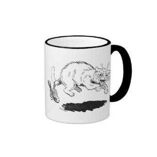 Lobster Has Cat By the Tail Ringer Coffee Mug