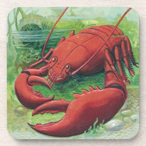 Lobster in the Ocean Vintage Drink Coasters