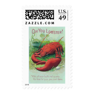 Lobster in the Ocean Vintage Postage Stamps