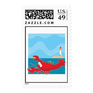 Lobster Light House Stamp