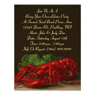 Lobster Lobsters Party Dinner or BYOL Invitation