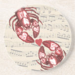 Lobster Love Musical notes with heart Drink Coaster