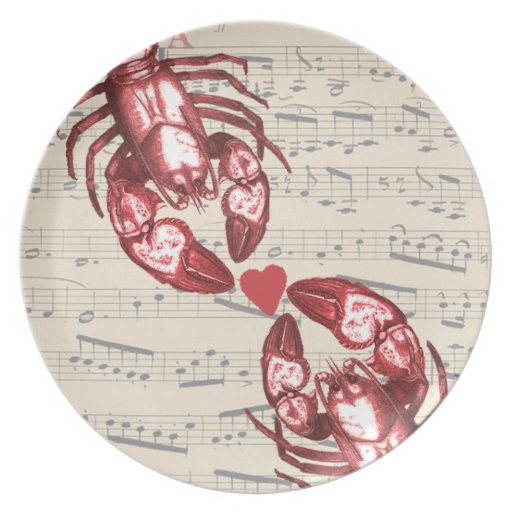 Lobster Love Musical notes with heart Dinner Plate