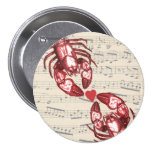 Lobster Love Musical notes with heart Pins