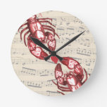 Lobster Love Musical notes with heart Wall Clocks