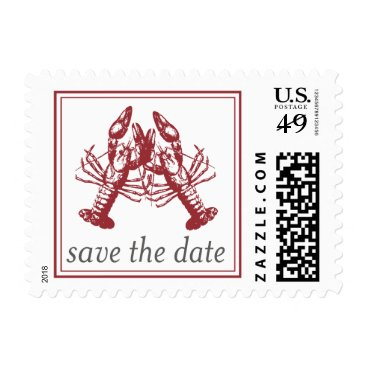 Beach Themed Lobster Love Save the Date Stamp