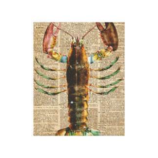 Lobster Mediterranean Sealife Vintage Artwork Canvas Print