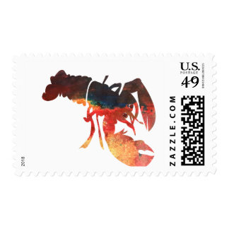 Lobster Mixed Media Collage Postage Stamps