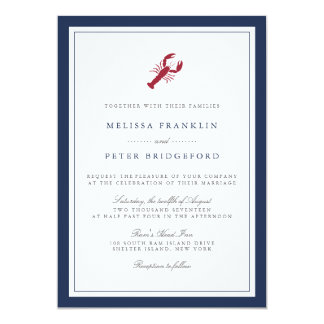 Lobster Nautical Navy Wedding Invitation