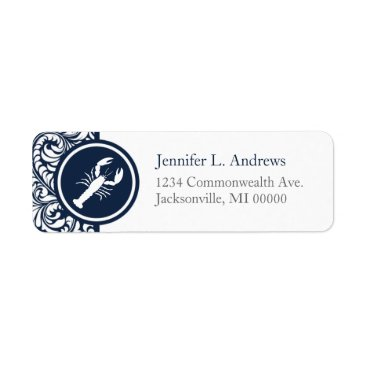 Lobster Navy Blue White Damask Beach Wedding Theme Label