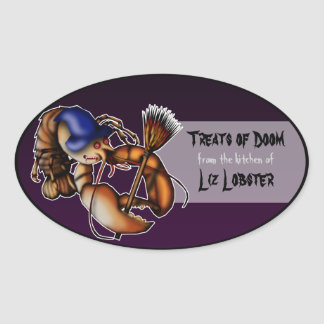 Lobster Of Doom, halloween baking labels Oval Sticker