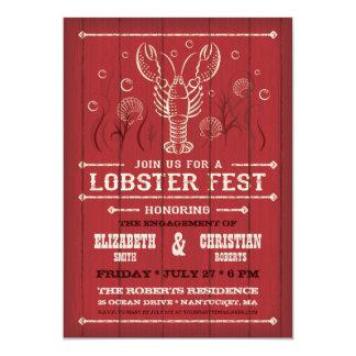 Lobster on Red Barn Wood Invitation
