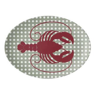 Lobster on White Dots Porcelain Serving Platter