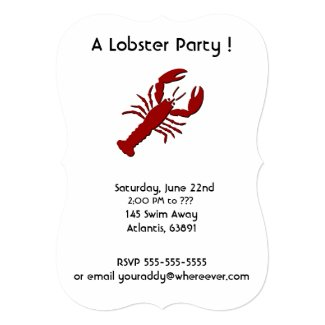 "Lobster Party Invitations 5"" X 7"" Invitation Card"