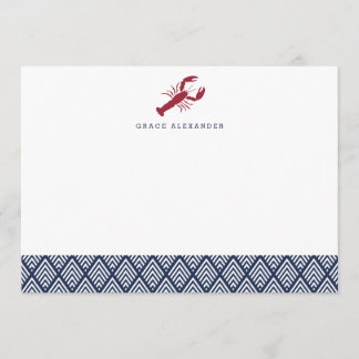 Lobster Personalized Stationery Flat Cards