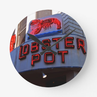 Lobster Pot Neon Sign Round Wallclocks