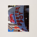 """Lobster Pot Neon Sign Jigsaw Puzzle<br><div class=""""desc"""">This product features an original photograph of the sign in front of the famous Lobster Pot in Provincetown,  MA. The restaurant has been a Cape Cod food landmark for many years. This is the perfect item for anyone who loves lobsters,  seafood,  Cape Cod,  or just neat signs!</div>"""