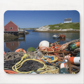 Lobster pots, buoys, and ropes on the dock at mouse pad