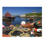 Lobster pots, buoys, and ropes on the dock at post card
