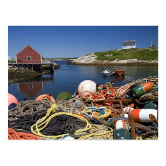 Lobster pots, buoys, and ropes on the dock at postcard