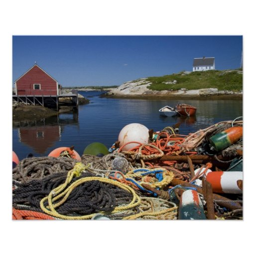 Lobster pots, buoys, and ropes on the dock at poster