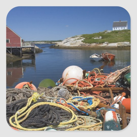 Lobster pots, buoys, and ropes on the dock at square sticker