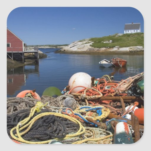 Lobster pots, buoys, and ropes on the dock at stickers