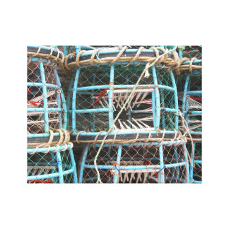 Lobster pots stacked on the harbor stretched canvas print
