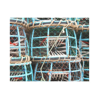 Lobster pots stacked on the harbor canvas print