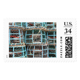 Lobster pots stacked on the harbor postage
