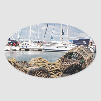 Lobster pots, Yarmouth, England Oval Sticker