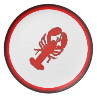 Lobster Red and Black Trim Serving Platter Dinner Plate