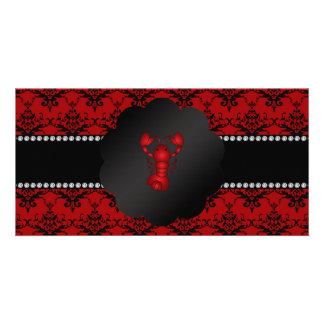 Lobster red damask photo card