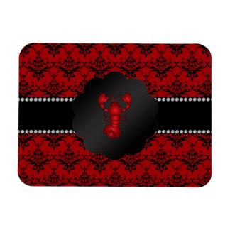 Lobster red damask rectangular photo magnet