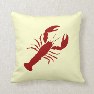LOBSTER red on off white pillow