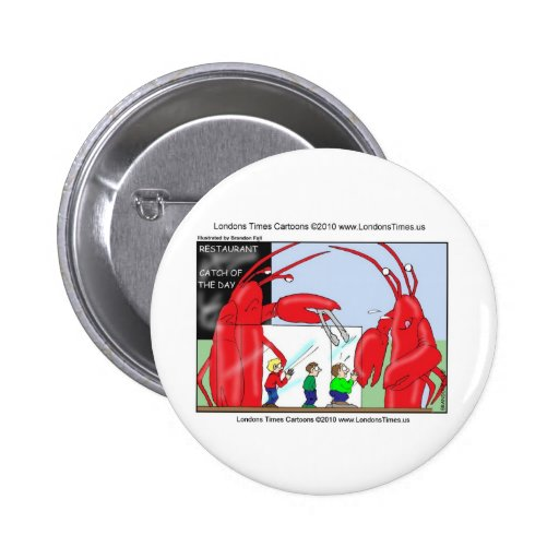 Lobster Restaurant Funny Tees Mugs & Gifts Pinback Buttons