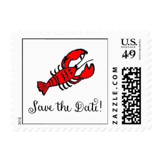 Lobster Save the Date Postage Stamp